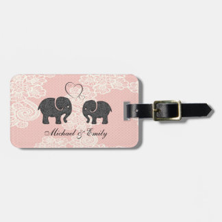 Cute trendy lace Elephants in love Luggage Tag