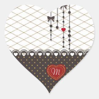 Cute trendy lace faux gold glitter strokes pattern heart sticker