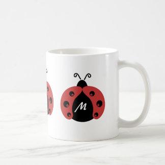 Cute trendy ladybug monogram classic white coffee mug