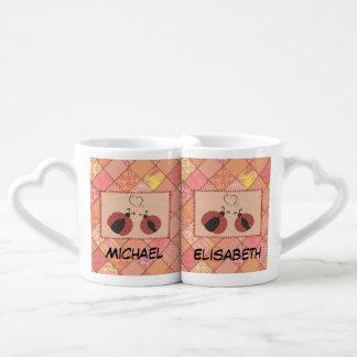 Cute trendy ladybugs in love monogram patchwork coffee mug set