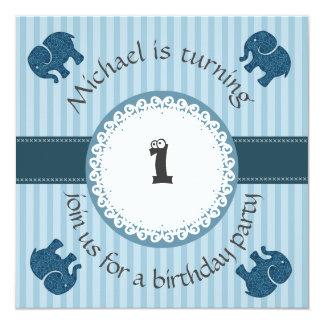 Cute trendy modern elephant pattern birthday card