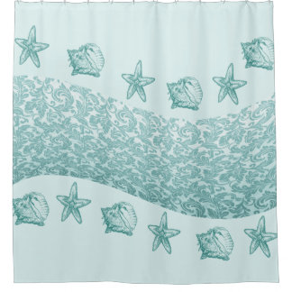 cute trendy modern mint starfish damask wave shell shower curtain