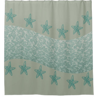 cute trendy modern mint starfish damask wave shower curtain