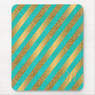 Cute trendy monogram stripes faux gold glitter mouse pad