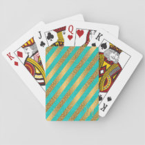 Cute trendy monogram stripes faux gold glitter playing cards