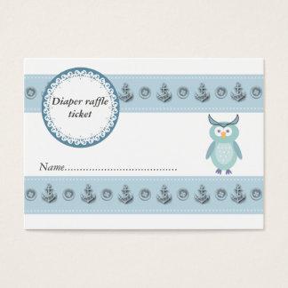 Cute trendy owl boy diaper raffle ticket
