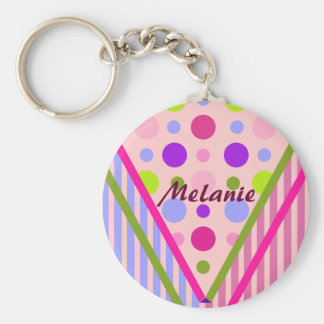 Cute trendy patterns Keychain with Name