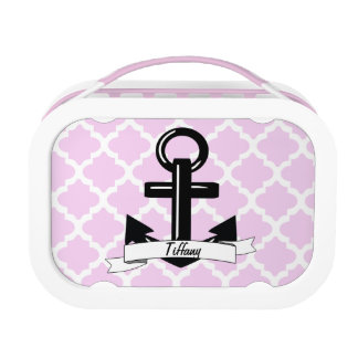 Cute Trendy Pink Damask Personalized Anchor Lunch Box