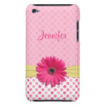 Cute Trendy Pink Gerbera Daisy Polka Dot iPod Case Ipod Touch Case-mate Case