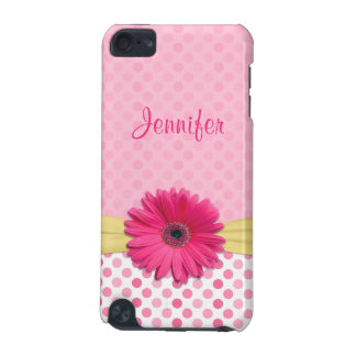 Cute Trendy Pink Gerbera Daisy Polka Dot iPod Touch 5G Cover