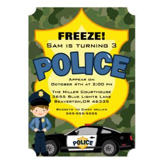 Cute Trendy Police Car Birthday Invitation