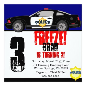 Toddler & Baby themed Cute Trendy Police Car Birthday Party Invitation