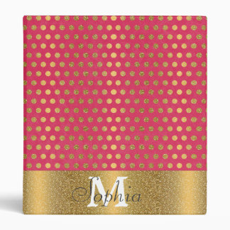 Cute trendy polka dots faux gold glitter pattern binder