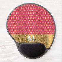 Cute trendy polka dots faux gold glitter pattern gel mouse pad