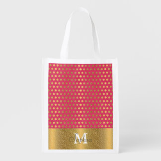 Cute trendy polka dots faux gold glitter pattern grocery bag