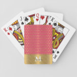"""Cute trendy polka dots faux gold glitter pattern playing cards<br><div class=""""desc"""">Cute trendy polka dots faux gold glitter pattern, gold shining glitter, yellow gold ribbon, monogram, sparkles, hot pink colors, soft velvet texture effects. Special days, celebrations, Colorful, bright, vivid, girly, cute, illustration, Custom, Fashionable, awesome, creative, artistic, d&#233;cor, trend, art, popular, feminine, glam, elegant, shabby chic, pretty, unique, modern, fashion, popular,...</div>"""