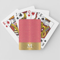 Cute trendy polka dots faux gold glitter pattern playing cards