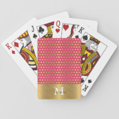 Cute Trendy Polka Dots Faux Gold Glitter Pattern Playing Cards at Zazzle