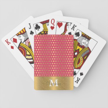 InovArtS Cute trendy polka dots faux gold glitter pattern playing cards