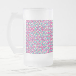 Cute Trendy Scribble Bows Frosted Glass Beer Mug
