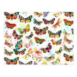 Cute trendy watercolor splatters butterflies postcard