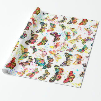 Cute trendy watercolor splatters butterflies wrapping paper