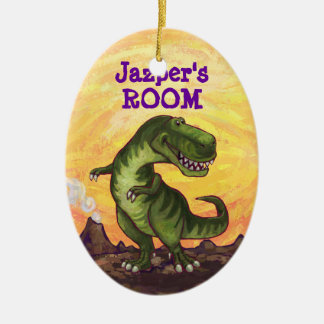 Cute TRex Heads and Tails Personal Room Decor Double-Sided Oval Ceramic Christmas Ornament