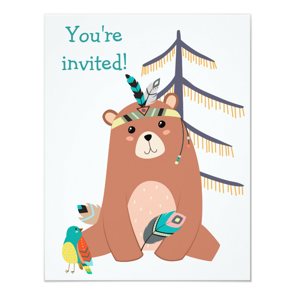 Cute Tribal Bear Birthday Party Invitation