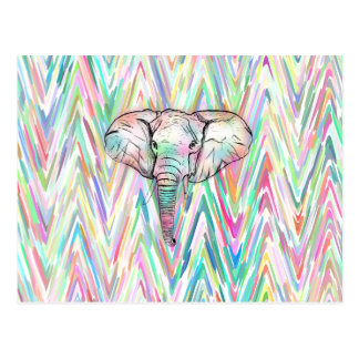 Cute Tribal Elephant Sketch Pastel Chevron Post Card
