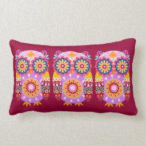 Cute Tribal Owl Art Pillow