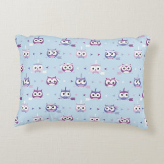 Cute Tribal Owls Blue and Purple Accent Pillow