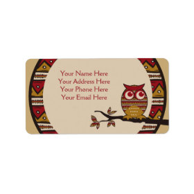 Cute Tribal Pattern Owl Branch Moon Leaves Ethnic Personalized Address Labels