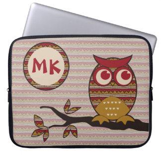 Cute Tribal Pattern Owl Branch Moon Leaves Ethnic Laptop Computer Sleeves