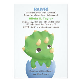 Cute Triceratops Dinosaur Baby Shower Invitations