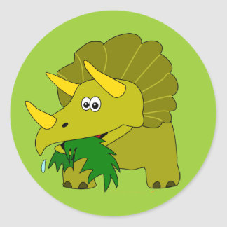 Cute Triceratops Dinosaur Kids Cool Gifts Classic Round Sticker