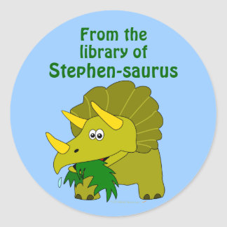 Cute Triceratops Dinosaur Personalized Bookplate Classic Round Sticker