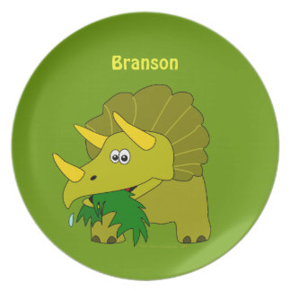 Cute Triceratops Dinosaur Personalized Kids Plate