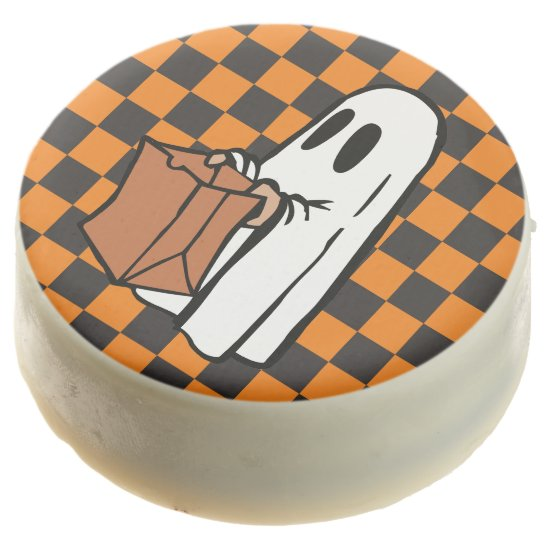 Cute Trick-or-Treat Ghost on Black/Orange - Oreos