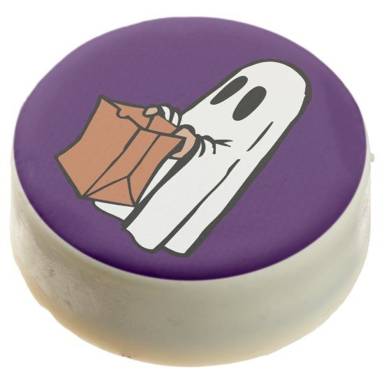 Cute Trick-or-Treat Ghost on Purple Oreos