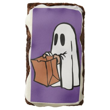 Halloween Themed Cute Trick or Treat Ghost with Bag Design Brownies