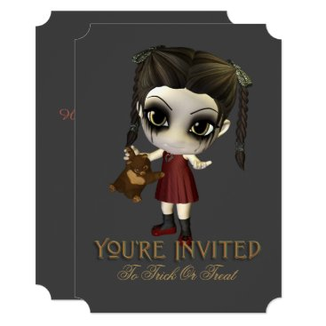 Halloween Themed Cute Trick Or Treat Kid Halloween Party Invitation