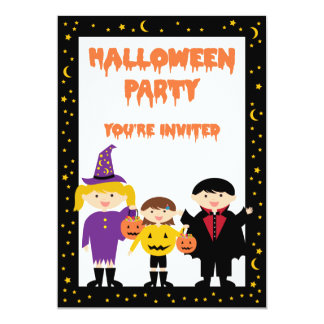 Cute Trick or Treat Kids Halloween Party 5x7 Paper Invitation Card