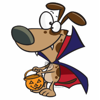 cute trick or treat vampire puppy dog cartoon cut outs