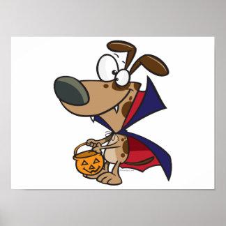 cute trick or treat vampire puppy dog cartoon print