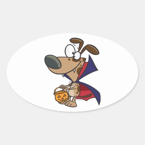 cute trick or treat vampire puppy dog cartoon oval stickers
