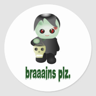 """Cute Trick-or-Treating Zombie - """"braaains plz"""" Classic Round Sticker"""