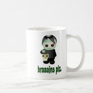 """Cute Trick-or-Treating Zombie - """"braaains plz"""" Coffee Mug"""