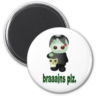 """Cute Trick-or-Treating Zombie - """"braaains plz"""" 2 Inch Round Magnet"""