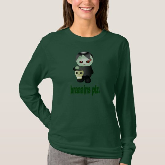 "Cute Trick-or-Treating Zombie - ""braaains plz"" T-Shirt"