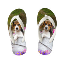 Cute Tricolor Beagle Dog Puppy Animal - for Kids Kid's Flip Flops